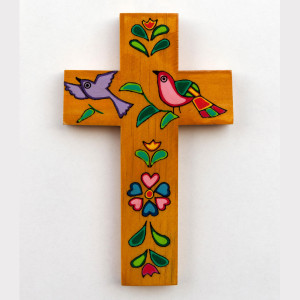 croce-dorata-fiori-uccelli